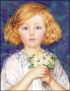 Young Girl With Primroses by Margaret W. Tarrant (1888-1959) English illustrator specializing in depictions of fairy-like children and religious subjects.