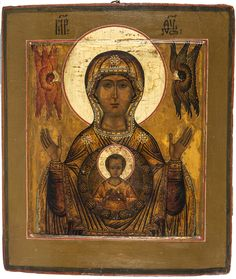 waist-length representation of Our Lady with her hands raised up in prayer, the Virgin is depicted with the Christ Child within a round aureole upon her breast, above Mary`s hands are two seraphims. Russian Icons, Russian Art, Religious Icons, Religious Art, Byzantine Icons, Hail Mary, Madonna And Child, Orthodox Icons, Blessed Mother