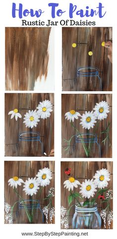 How To Paint Daisy Jar With Faux Wood Background Easy acrylic canvas painting on canvas! Learn how to paint a mason jar with daisies and a faux wood background. This tutorial comes with a mason jar template that you can print and trace onto your canvas. Cute Canvas Paintings, Canvas Painting Tutorials, Easy Canvas Painting, Simple Acrylic Paintings, Acrylic Painting Canvas, Painting On Wood, Canvas Art, Creative Painting Ideas, Trippy Painting