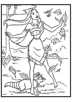 coloring page about pocahontas singing in nature with birds beautiful drawing of pocahontas coloring