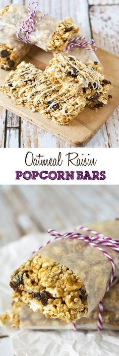 OATMEAL RAISIN POPCORN BARS on MyRecipeMagic.com. Oatmeal raisin cookie lovers will love these fun Oatmeal Raisin Popcorn Bars full of oatmeal, walnuts, cinnamon and raisins, then drizzled in white chocolate.   Read more at http://myrecipemagic.com/recipe/recipedetail/oatmeal-raisin-popcorn-bars#T6uHbTi2LqJpuPVO.99