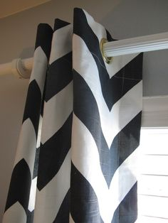 Pair of Designer Grommet Top Drapery Panels In Charcoal And White Large Chevron $235
