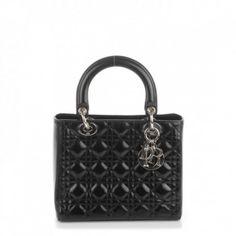 CHRISTIAN DIOR Patent Cannage Medium Lady Dior Black