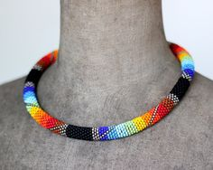 Rainbow Unisex Necklace Chunky Rope Necklace Patchwork