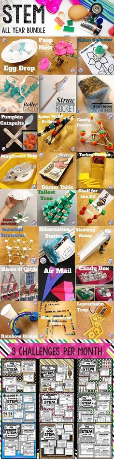 STEM Challenges for the ENTIRE YEAR for Elementary Students! 3 Engaging Challenges per month!