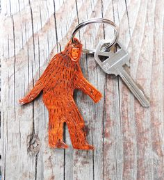 Bigfoot Sasquatch Keychain - Hand Tooled Leather by OneLaneRoad on Etsy https://www.etsy.com/listing/101305707/bigfoot-sasquatch-keychain-hand-tooled