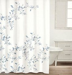 Caro Botanical Nature 100% Cotton Shower Curtain Floral Branches Design Cherry  Blossom, Blue And