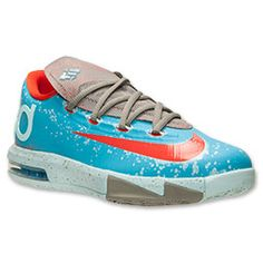 Boys' Grade School Nike KD VI Basketball Shoes | FinishLine.com | Gamma Blue/Gold/Grey