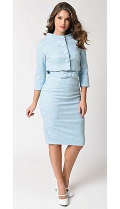 Lindy Bop 1950s Light Blue Jacquard Maybelle Wiggle Dress & Jacket Set