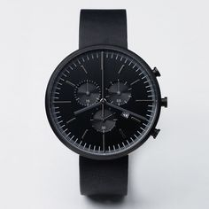 302 Series chronograph watch with black case and black strap by Uniform Wares. Available at Dezeen Watch Store: www.dezeenwatchstore.com #watches