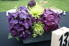 purple centerpiece