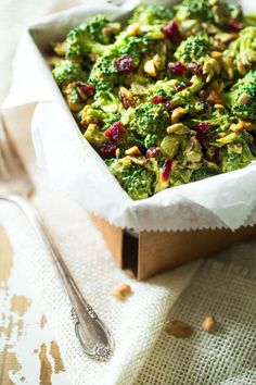 This paleo, healthy Broccoli Salad is jazzed up with a curried cashew cream dressing. It's a quick and easy side dish that is always a crowd pleaser!