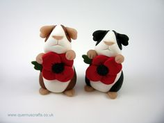 Quernus Crafts — Little Poppy Guinea Pig 111116 - To commemorate Remembrance Day. Little Poppy Guinea Pig is made from polymer clay with semi-precious black onxy eyes. She is holding a polymer clay...