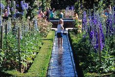 The Alnwick Garden, kids love to do this, walking through the water features!