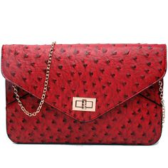32dcff37cea34 Miss Lulu ostrich print clutch bag in red. A stunning ostrich print bag  with a