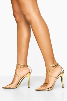 Womens Pointed Toe Strappy Heels - metallics - 10 #CelluliteCream Cellulite Wrap, Reduce Cellulite, Anti Cellulite, Thigh Cellulite, Strappy Heels, Stiletto Heels, Cellulite Exercises, Cellulite Workout, Cellulite Remedies
