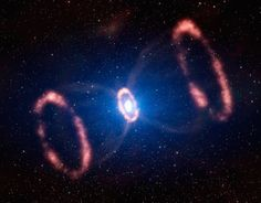 Star Death.  The hourglass shape of the supernova remnant SN 1987A.  August picture of the exploded star.