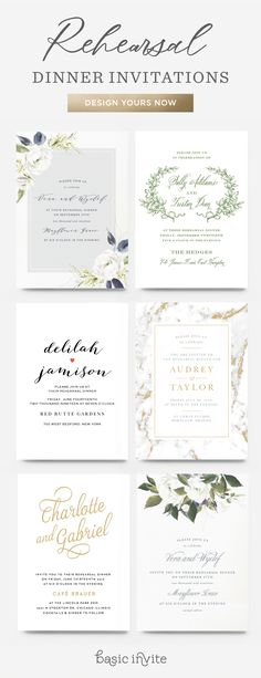Design rehearsal dinner invitations that perfectly match your wedding invites.