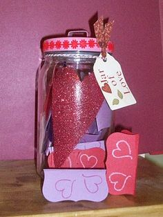 "Jar of Love: notes inside that say, ""I love you because..."""