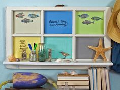 DIY Beach-Inspired Memo Board >> http://www.hgtv.com/decorating-basics/easy-weekend-projects-to-try-this-summer/pictures/page-4.html?soc=pinterest