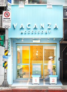 In order to attract the attention of the pedestrians, design studio choose a series of similar colors and materials extending from outside in, to design the new VACANZA accessories shop in Taipei. Cafe Shop Design, Cafe Interior Design, Store Design, Mini Cafe, Retail Shop, Accessories Store, Store Fronts, Retail Design, Restaurant Design