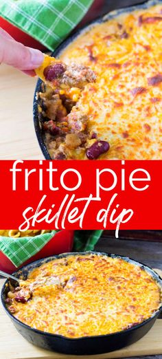 Frito Pie Dip for the cast iron skillet is a great way to make an appetizer ahead of time! Warm and comforting it feeds a crowd! Meaty Appetizers, Gluten Free Appetizers, Appetizers For A Crowd, Easy Appetizer Recipes, Appetizer Dips, Easy Dinner Recipes, Easy Meals, Easy Recipes, Frito Recipe