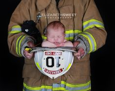 Firefighter baby photo - want my brother to do this when his newest little man is born!