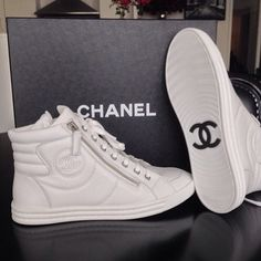 white leather chanel high tops