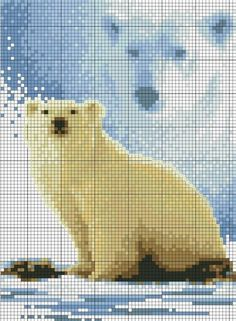 Forever Wild - Polar Bear 2 of 4 Counted Cross Stitch Patterns, Cross Stitch Charts, Cross Stitch Designs, Cross Stitch Embroidery, Graph Crochet, Crochet Cross, Cross Stitch Numbers, Cross Stitch Animals, Stuffed Animal Patterns