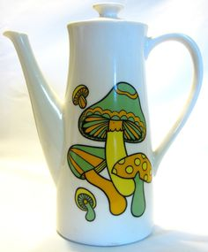 MUSHROOM TEA POT Coffee Carafe vintage 60s 70s retro ceramic