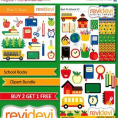80% OFF SALE CLIPART Back to school / Instant Download Clipart Bundle.. School Rocks Mgb025