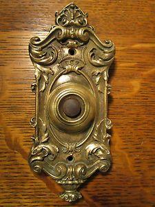 Antique Yale u0026 Towne Victorian Rococo Cast Brass Door Bell Push Button Electric & antique door bell set c. 1890   For the Home   Pinterest   Antique ... pezcame.com