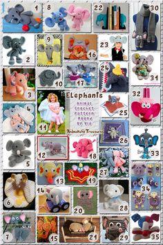 Elephants - Animal Crochet Pattern Round Up via @beckastreasures
