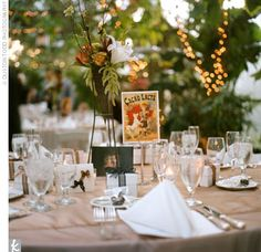 tan, orange, and green wedding decor idea for tables