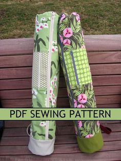 This listing is for a PDF Sewing Pattern for a Yoga Mat Bag and does not include the actual yoga mat bag. Pattern Details: - Pattern makes a yoga mat bag featuring a zipper down the front of the bag to make removing and replacing your yoga mat easy - Finished bag measures 26 #yogamatbags