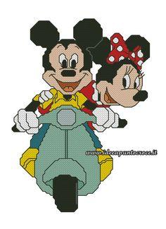 Topolino e Minnie in vespa punto croce