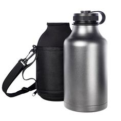 Ivation 64 oz Insulated Water Bottle  Beer Growler  Carrying Pouch Included  Choose Red Silver Or Black Silver ** Read more  at the image link. Note:It is Affiliate Link to Amazon.