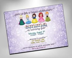 princess birthday, princess party invite, princess invitation, princess party, girls birthday, princesses, Elsa, cinderella Princess Birthday Invitations, Invitation Birthday, Girl Birthday, Birthday Parties, Birthday Ideas, Princess Party, Princess Sophia, Happy Party, Shower Invitations