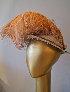 Image result for yellow feather hat vintage Tan Hat 3e70104a8b78