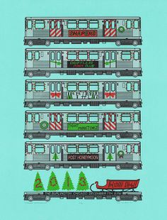 Gig poster screenprint 19x25 inches Chicago Holiday Train theme by StrangeAnatomies, $20.00