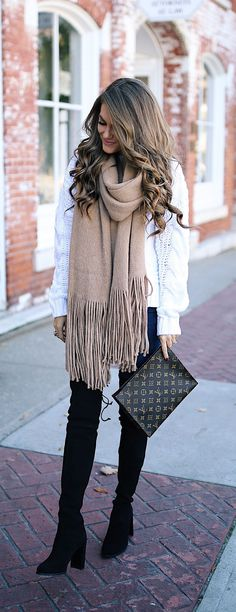 Oversized scarf + OTK boot.