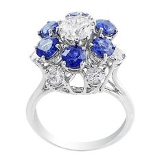 Estate High Set Sapphire Diamond Flower Ring
