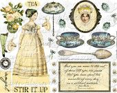 ART TEA LIFE Stir It Up Jane Collage Sheet  Scrapbooking altered art regency fashion paper doll clip art Digital File whimsy behave yourself