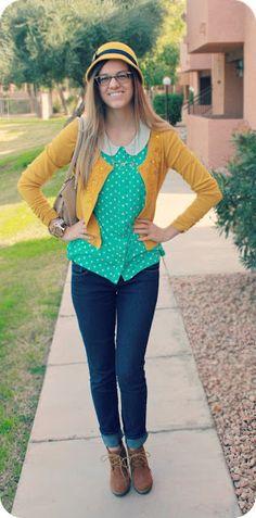 my favorite color combo. Peter pan collar, aqua polkadots, and a mustard cardigan.