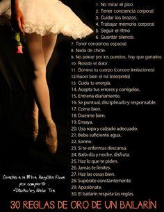 30 reglas de oro del bailarín <3 By Nadz Trn  #dance #dancers #rules #motivation #gold #points #ballet #reglas #motivacion #bailarin