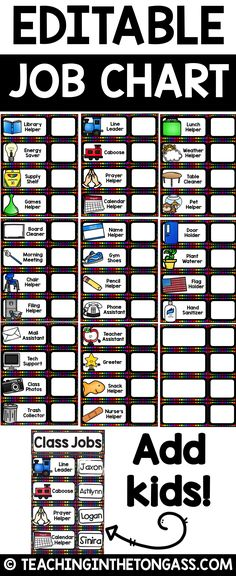 This EDITABLE classroom job chart set comes in fun, colorful design! Use in a pocket chart, on your whiteboard or make it magnetic! Included in this editable Powerpoint file you will find blank job chart templates, a title card (Class Jobs), blank student cards (to velcro on the job cards and rotate students), and prefilled job cards