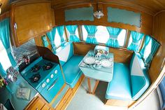 What a beautifully restored interior in aqua