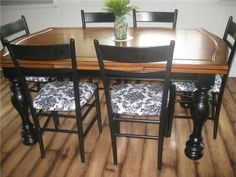 Cover kitchen chair cushions with vinyl tablecloth fabric to make for easy cleanup!