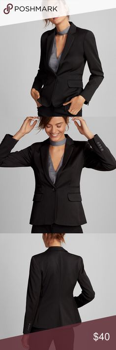 """Express Black One Button Blazer Suit Jacket Size 4 YOU CAN STILL BUY THIS FROM EXPRESS FOR $128  -Brand: Express -Color: Pitch Black -Condition: In Excellent Pre-Owned Condition. Only worn once! No rips, tears or stains.  -Product Details:   -> Notch lapel, one button front  -> Long sleeves with four button cuff detail  -> Flap hand pockets; Studio stretch  -> Fully lined, 24"""" long  -Size Type: Regular -Size (Women's): 4 -Material / Care: Polyester/Rayon/Spandex / Machine Wash -MSRP: $128…"""