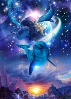 Gift of the Universe by Christian Riese Lassen mural at Magic Murals. Dolphin Painting, Dolphin Art, Animals Beautiful, Cute Animals, Dolphin Photos, Beautiful Fantasy Art, Delphine, World Photo, Scenery Pictures